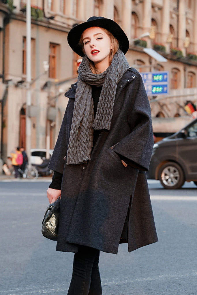 Woman Winter Wool Long Loose Coat - Gray