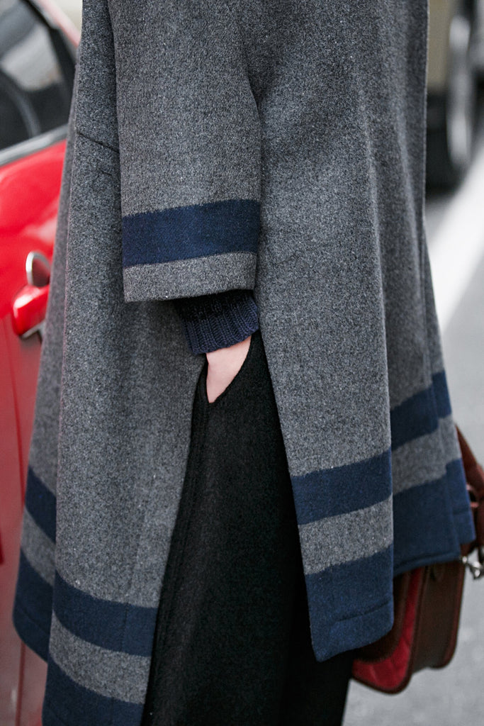 Woman Winter Long Loose Tweed Coat with Stripe - Gray