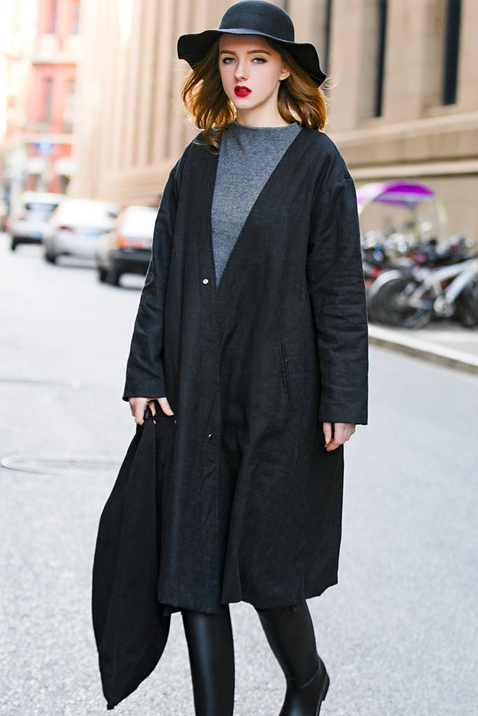 Woman Winter Long Coat - Black