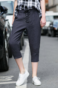 Woman Summer Tie Belt  Casual Pants-Navy Blue