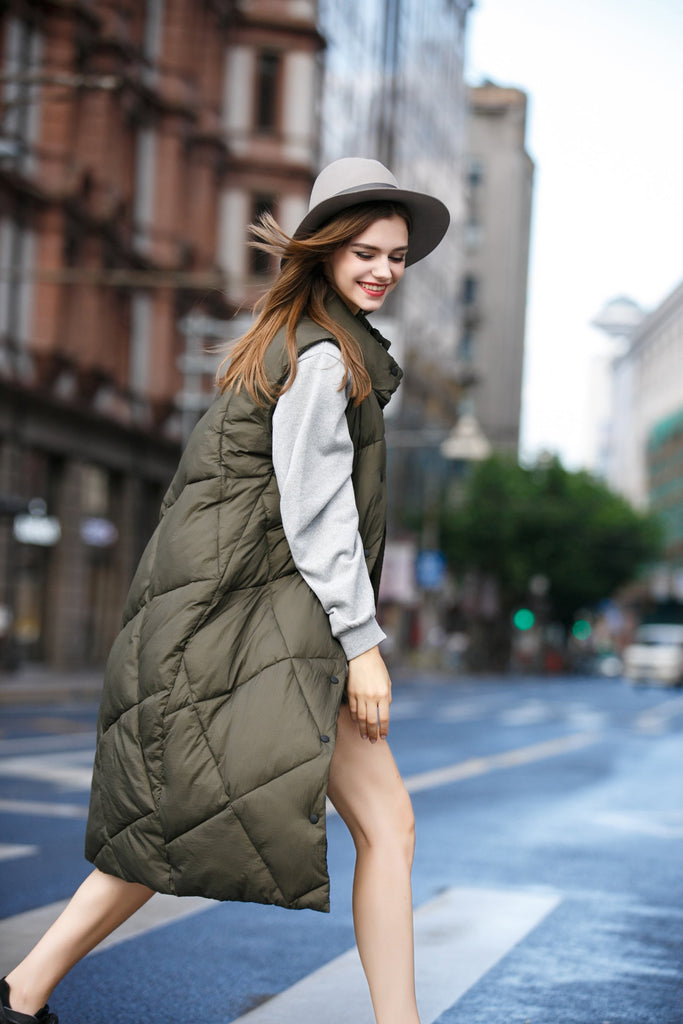 Woman Fall Thick Long Casual Waistcoat - Green