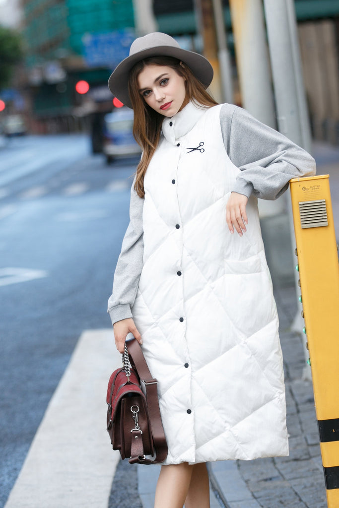 Woman Fall Thick Long Casual Waistcoat - White