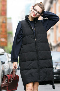 Woman Winter Long Vest with Zipper- Black