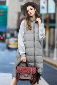 Woman Winter Long Vest with Zipper- Gray