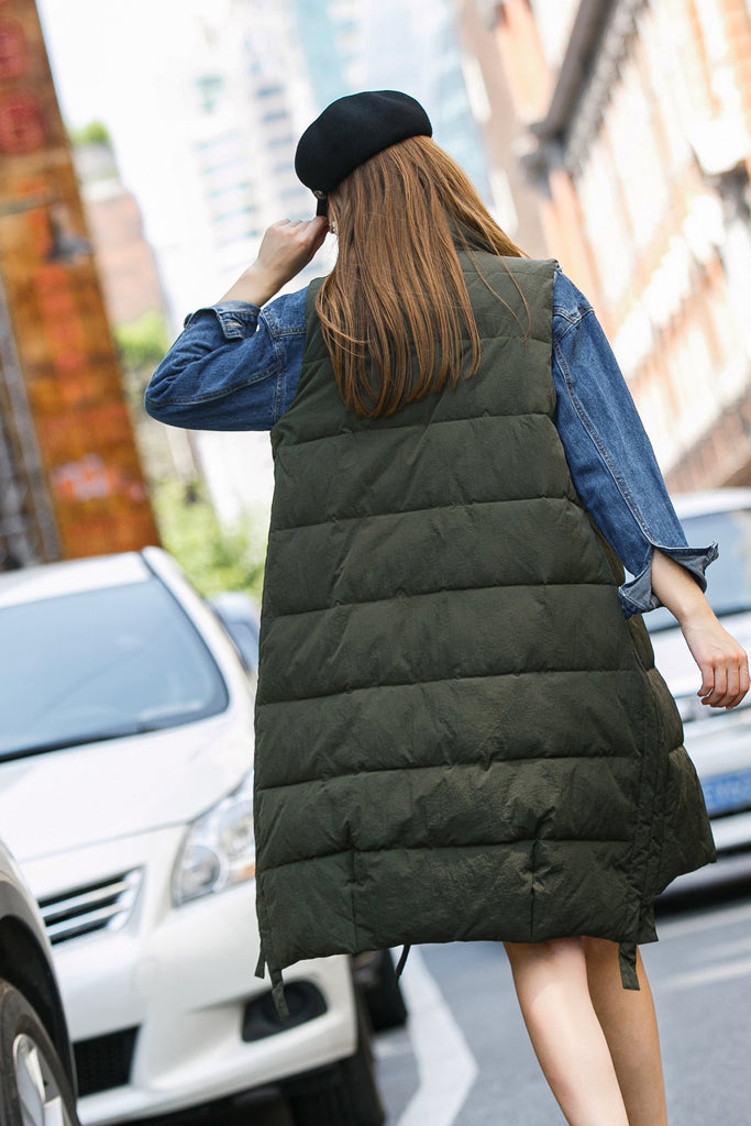 Woman Winter Long Vest with Zipper- Olive