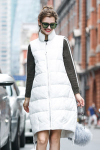Woman Winter Long Vest with Zipper- White