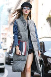 Woman Winter Thick Long Vest with Large Pocket- Gray
