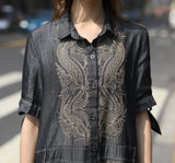 Woman Summer Short Sleeve Dress with Embroidery - Gray
