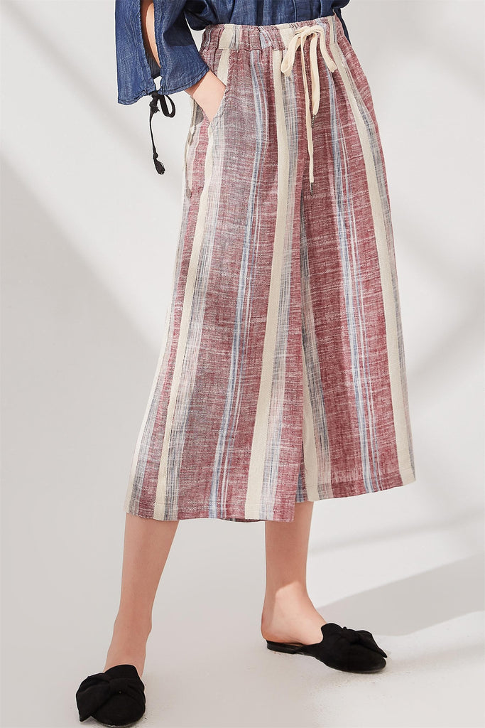 Woman Summer Multicolor Elastic Waist Striped Pants - Red