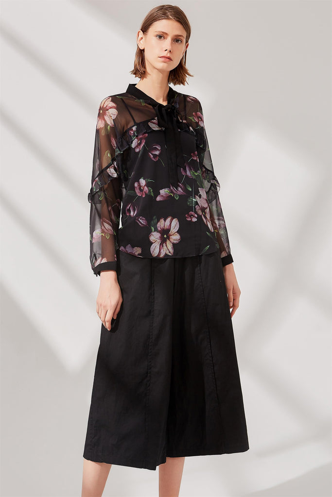 Woman Summer Floral-Print Long Sleeve Blouse - Black