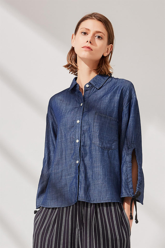 Woman Summer Loose Cuffs Long Sleeve Shirt -Navy Blue