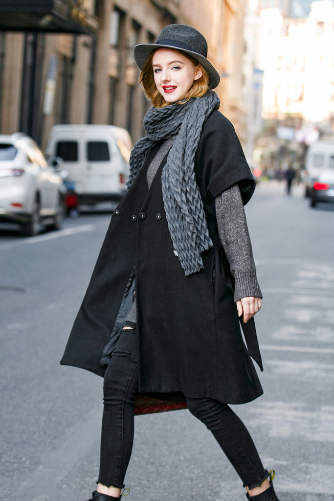 Woman Winter Short Sleeve Long Coat- Black