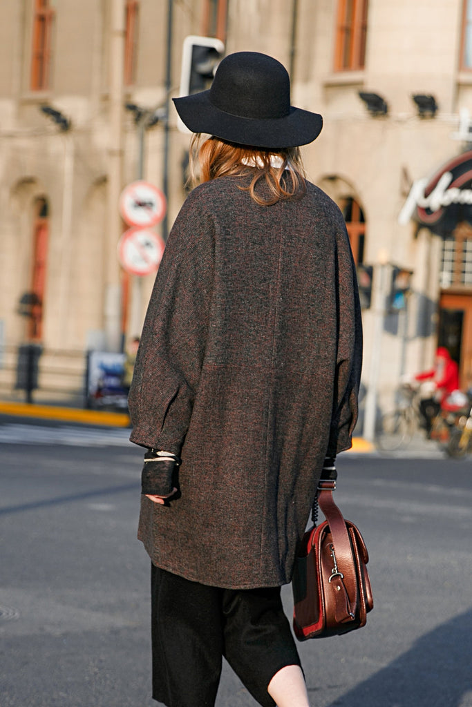 Woman Fall Long Sleeve Wool-Blended Long Coat - Brown