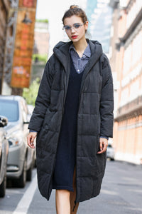 Women's Thick Medium Long Quilted Coat - Gray