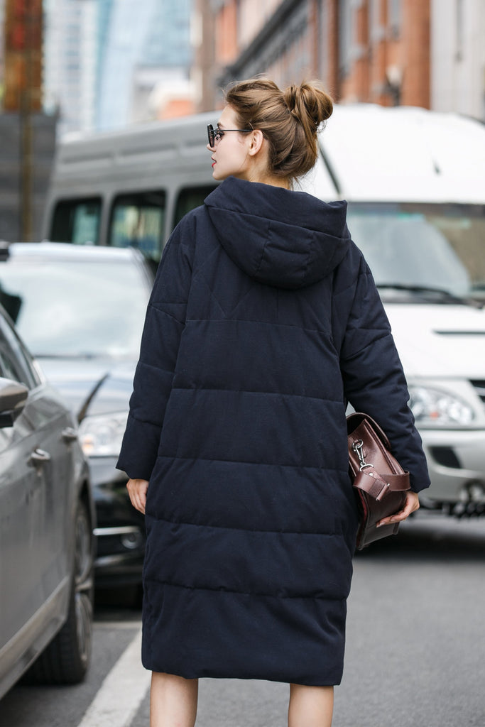 Women's Thick Medium Long Quilted Coat - Navy Blue