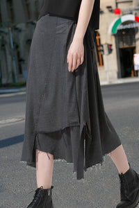 Woman Spring Skirt with Asymmetric Hem-Deep Gray