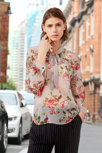 Woman Summer Floral-Print Long  Sleeve Blouse - Pink