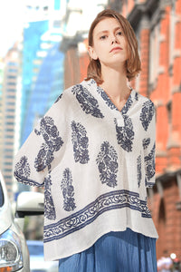 Woman Summer Floral-Print Loose Style Blouse- White