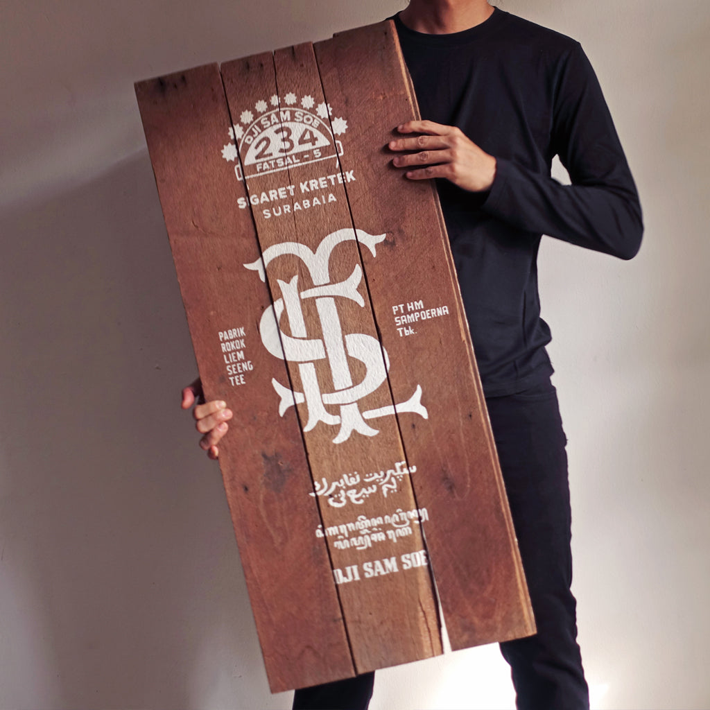 234– Dji Sam Soe | Hand-Painted Wooden Sign