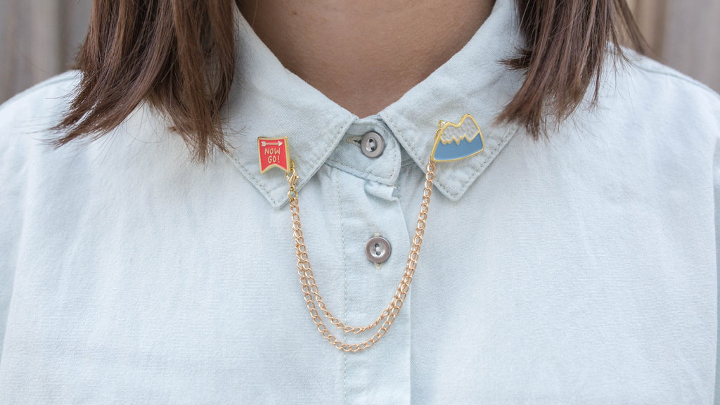 """Now Go"" Collar Brooch"