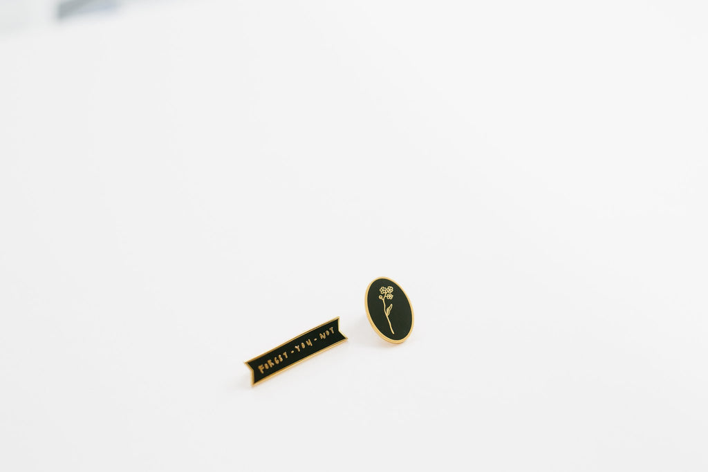 Forget-You-Not Text Enamel Pin
