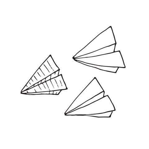 Paper Plane Doodle Temporary Tattoo