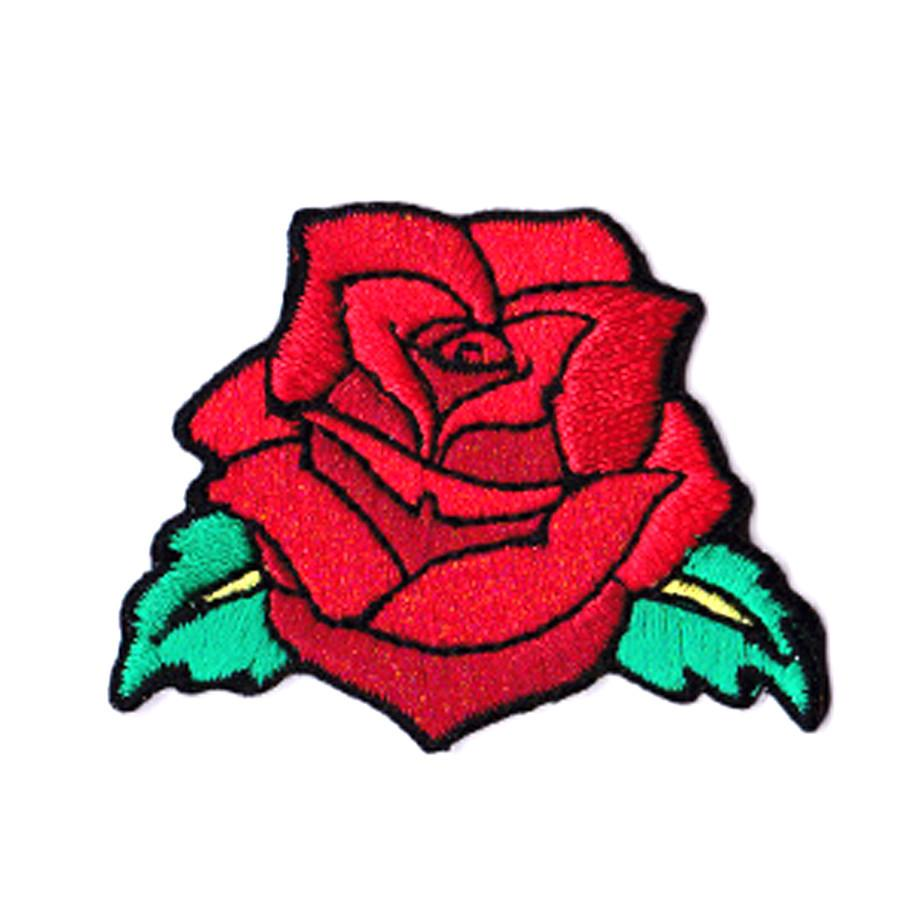 Mini Red Rose Iron On Patch