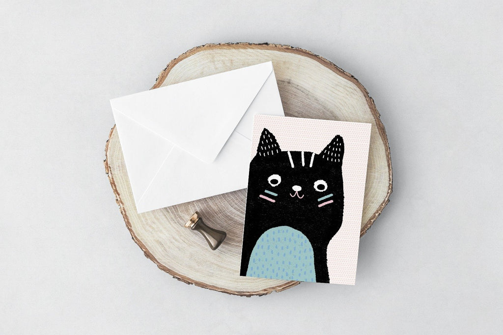 Tribal Cat greeting card