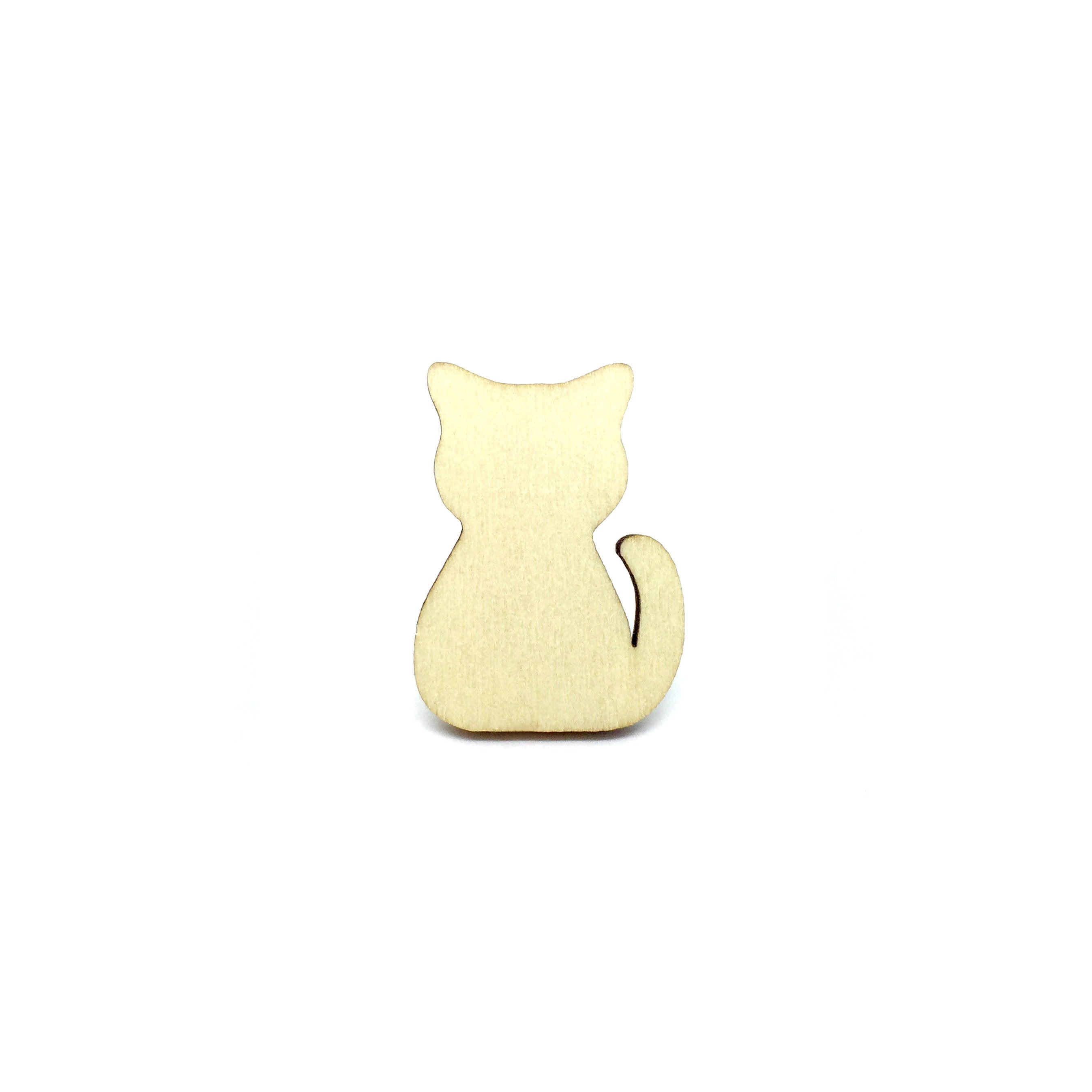 Adorable Cat Wooden Brooch Pin