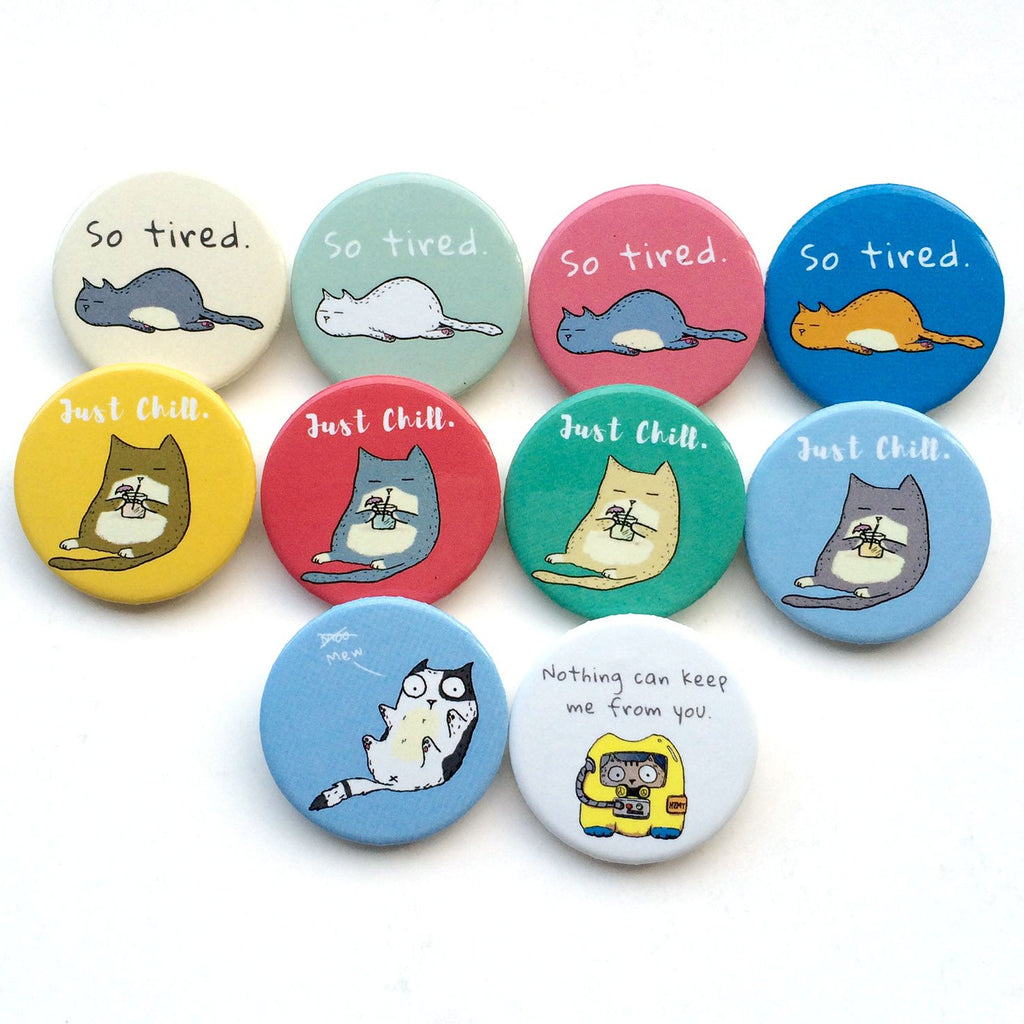 So Tired Cat Button Badge
