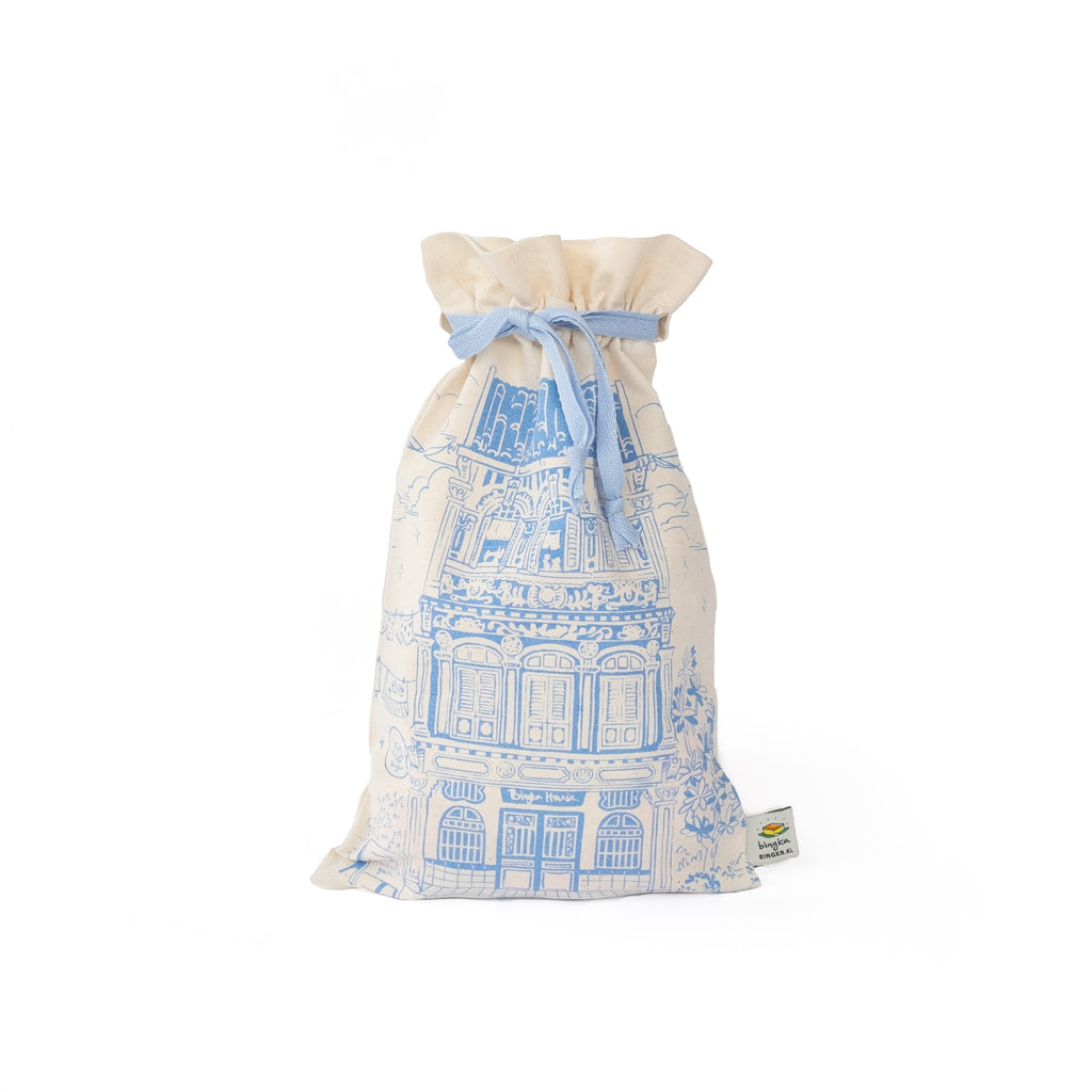 Colonial House Drawstring Gift Bag - Blue
