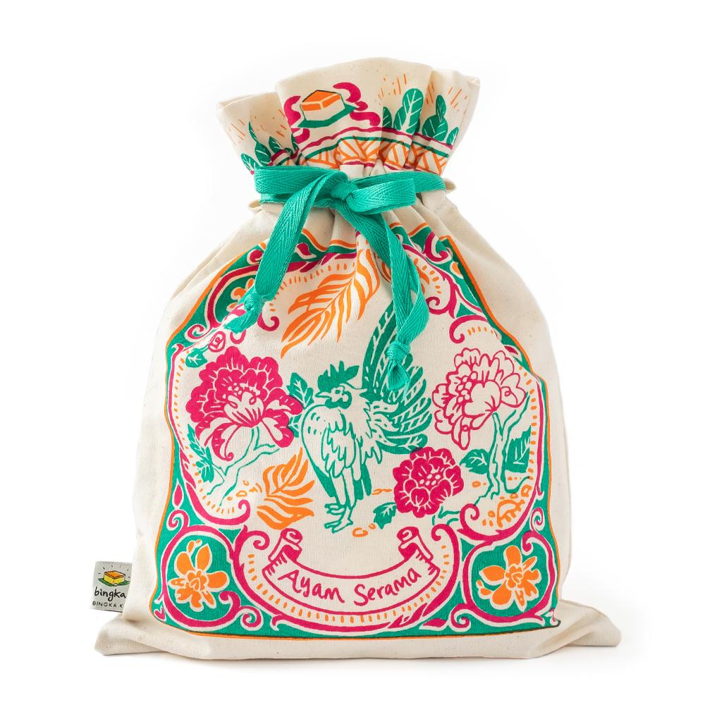 Peranakan Tiles Drawstring Gift Bag (Large)
