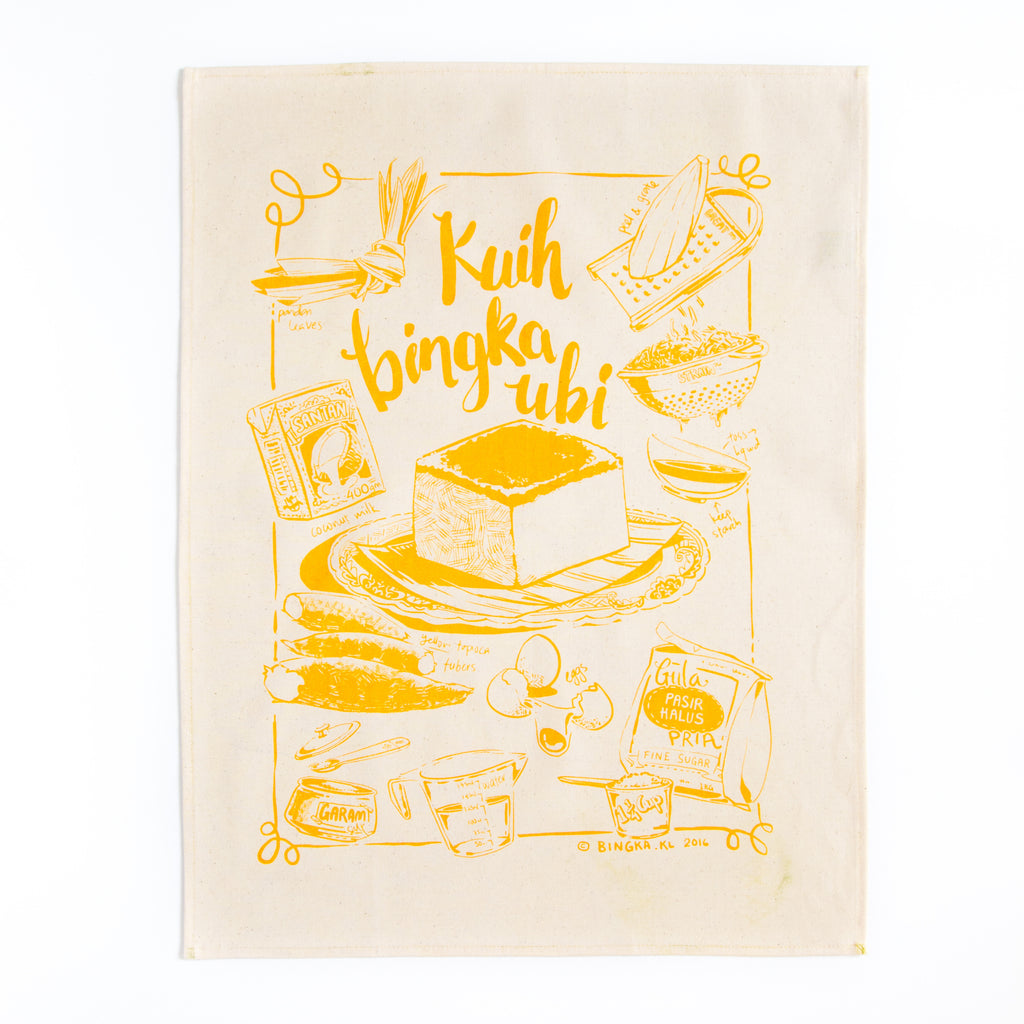 Kuih Bingka Ubi Tea Towel - Custard