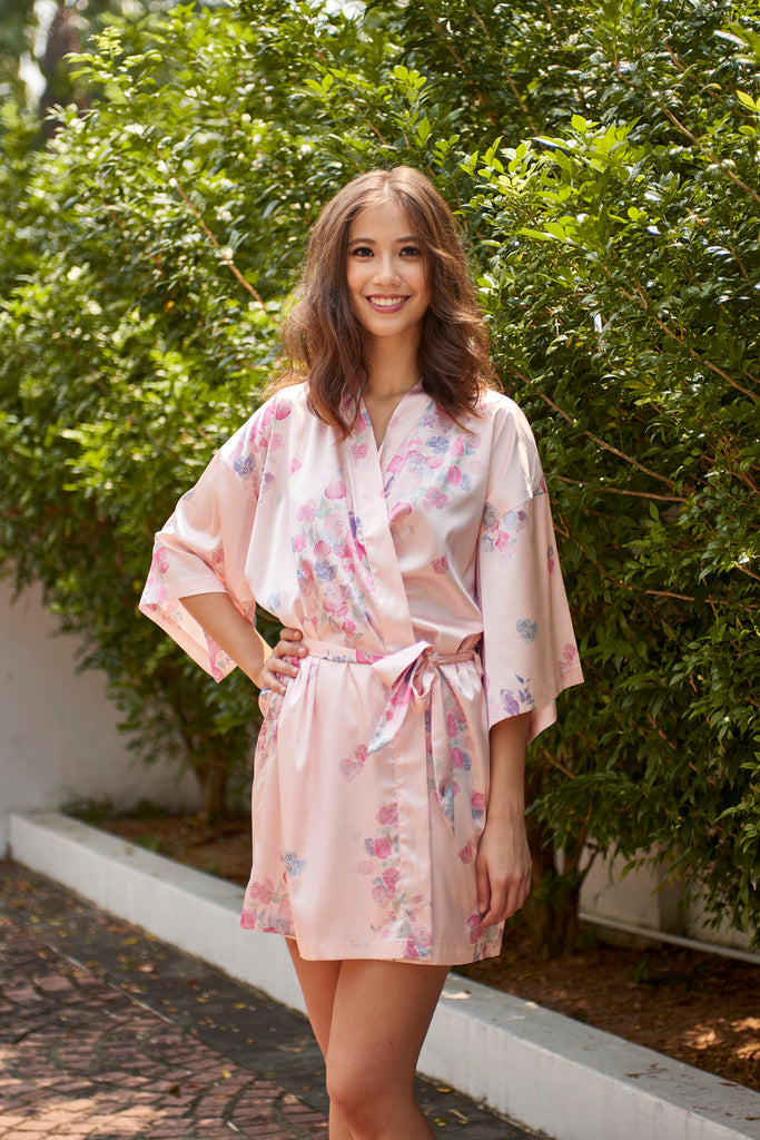 Blushing Bougainvillea Short Robe