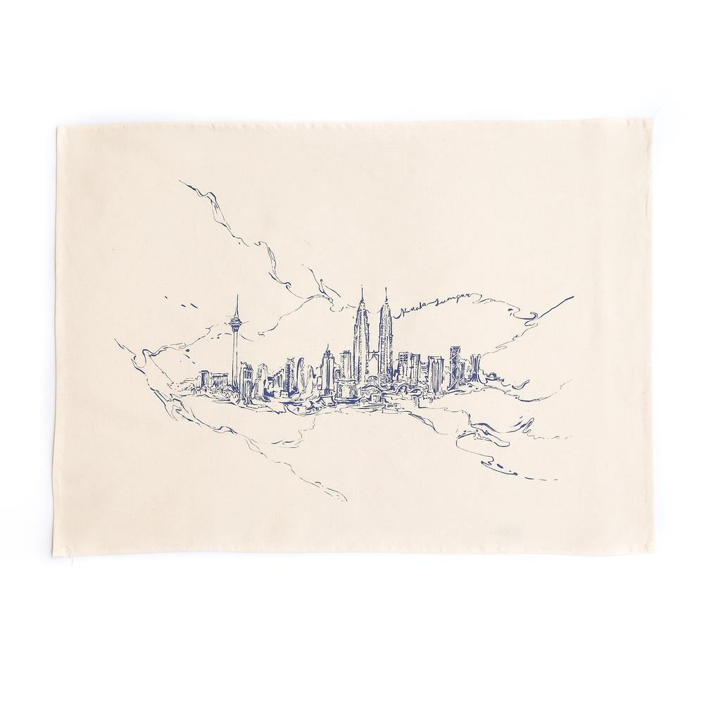 KL Marble Skyline Tea Towel - Black