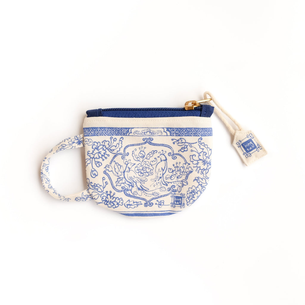 Blue Tea Cup Coin Pouch