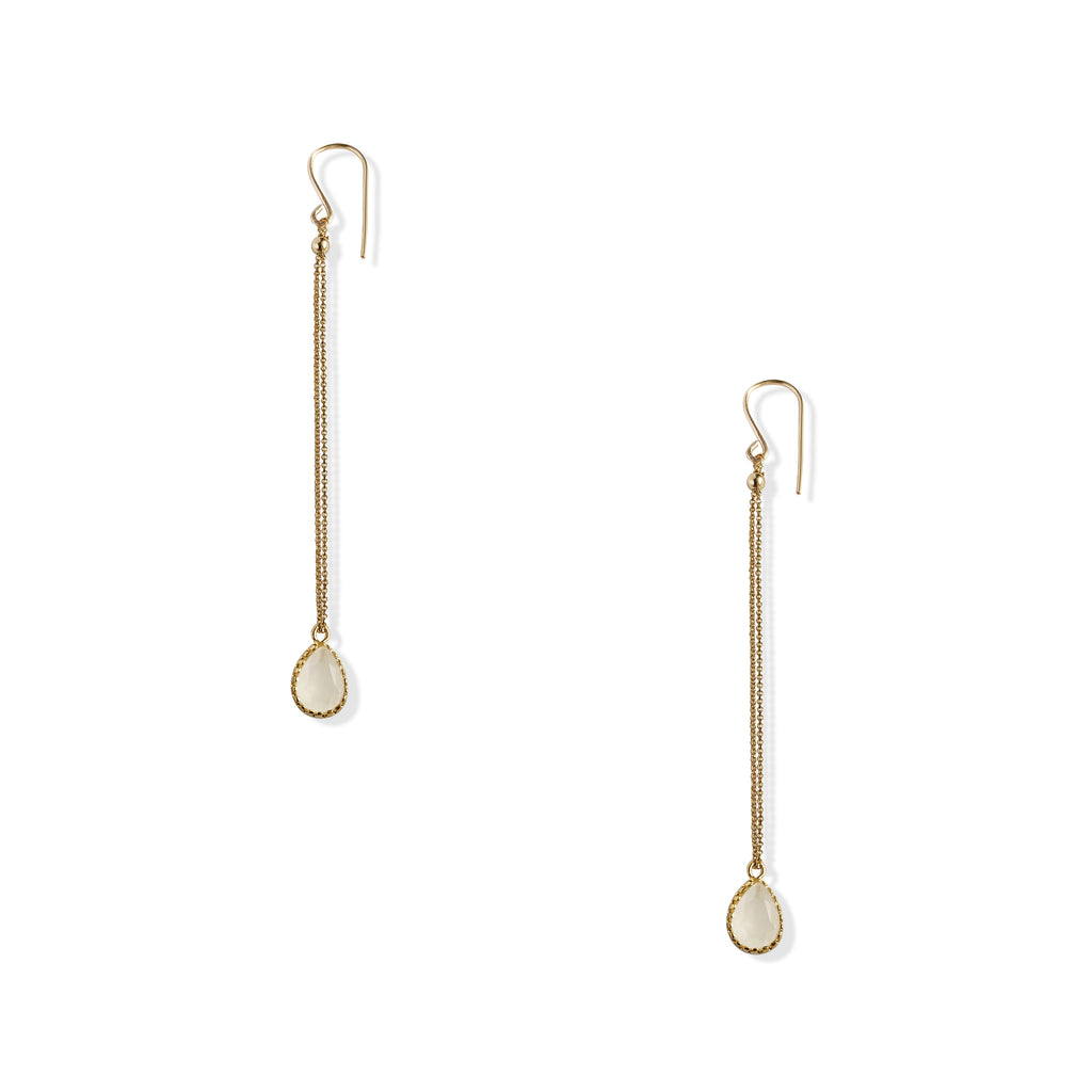 Petite Milky Quartz Double Chain Earrings