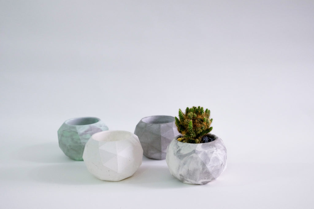 Faceted Sphere Concrete Pot