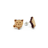 Fortune Cat Zhao Cai Mao Laser Cut Wood Earrings