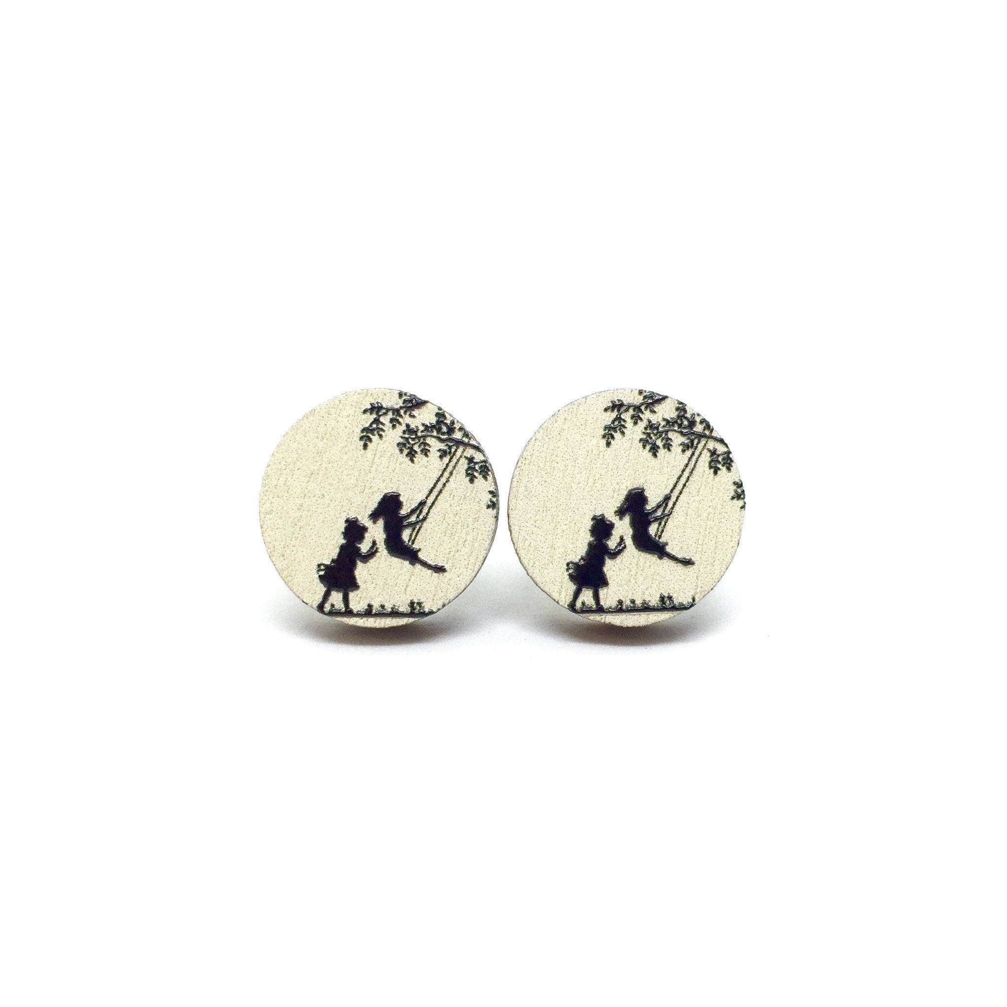 Girls Playing On Swing Wooden Earrings