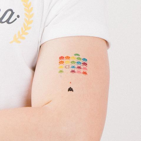 Space Invaders in Technicolour Temporary Tattoo