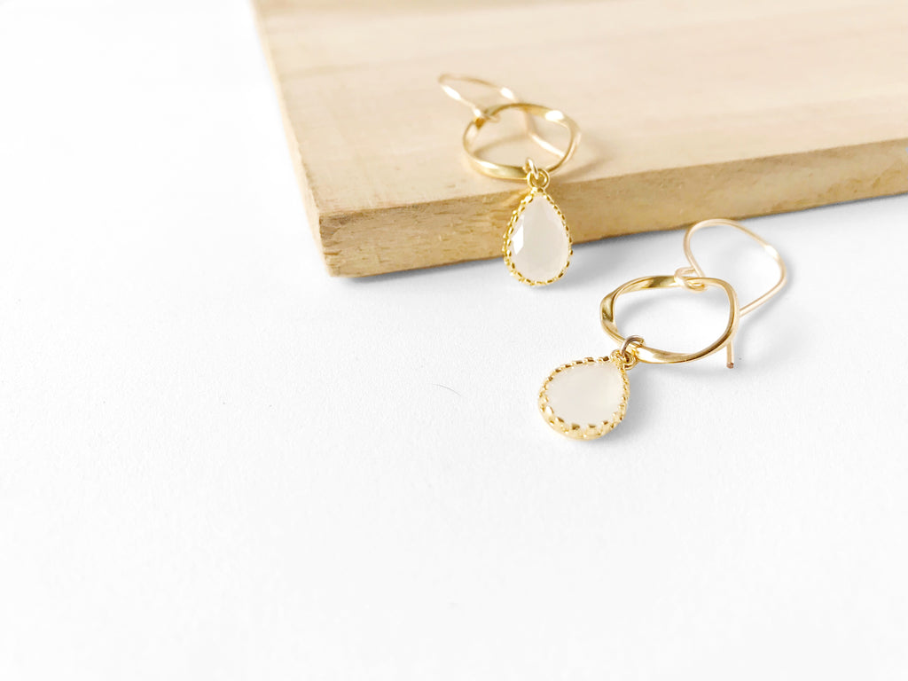 Petite Milky Quartz Earrings
