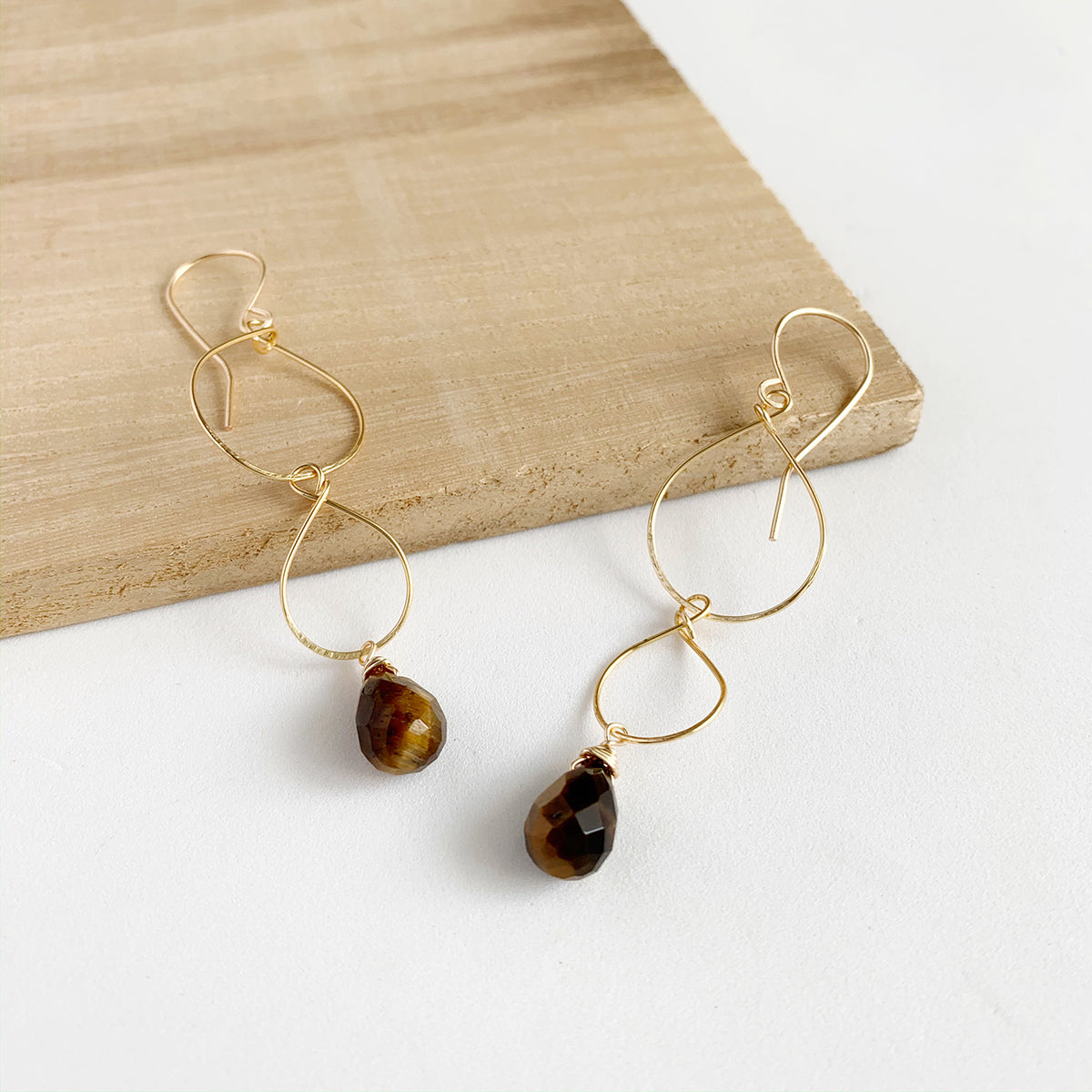 Tiger Eye Interloop Earrings