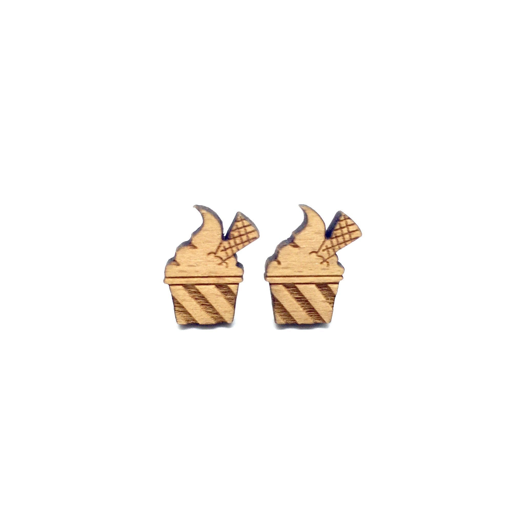 Ice Cream Laser Cut Wood Earrings
