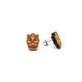 Lion Dance Laser Cut Wood Earrings