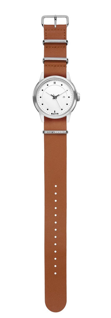 Maverick 44 Watch - Silver White w/ Honey Leather Leather Nato