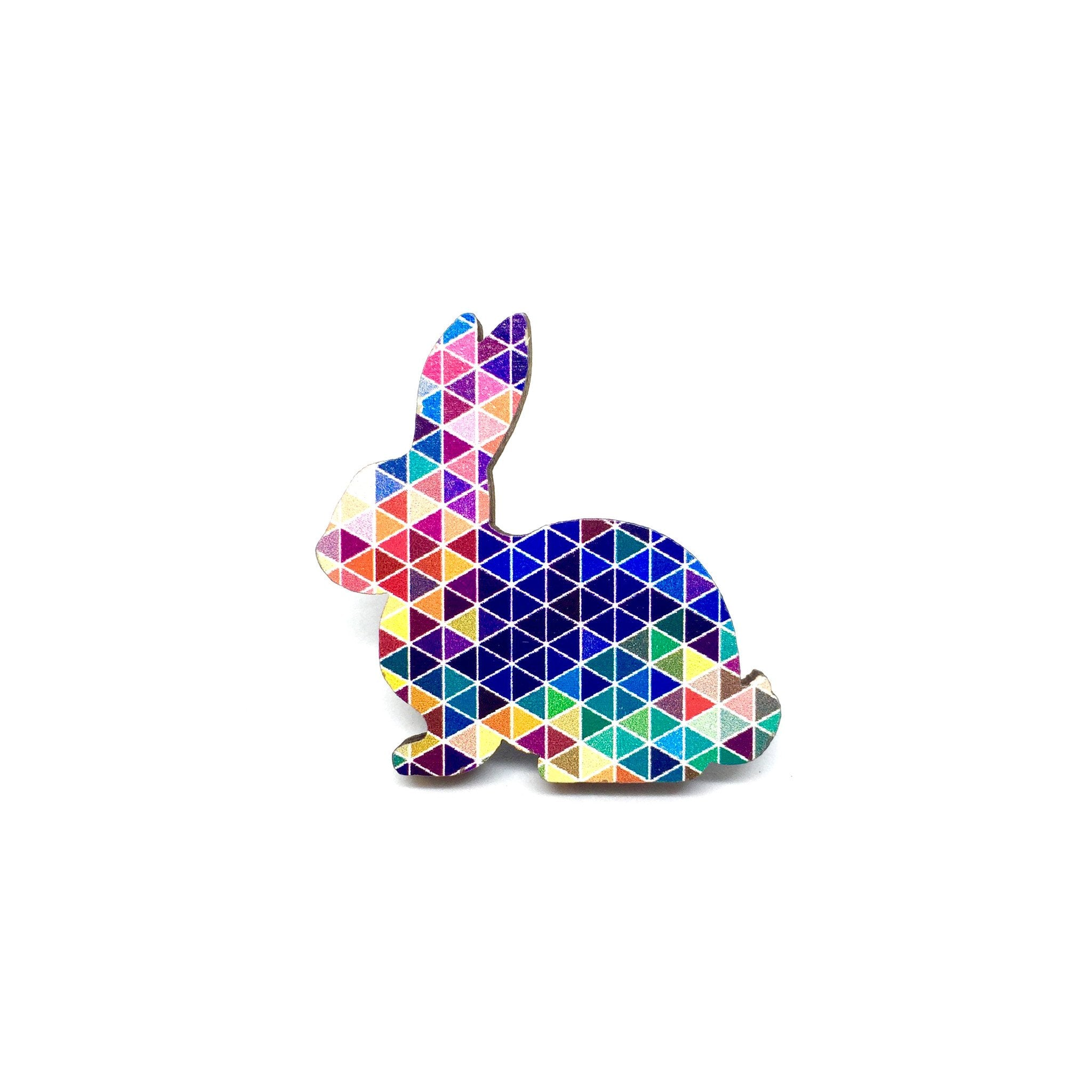 Modern Geometric Rabbit Wooden Brooch