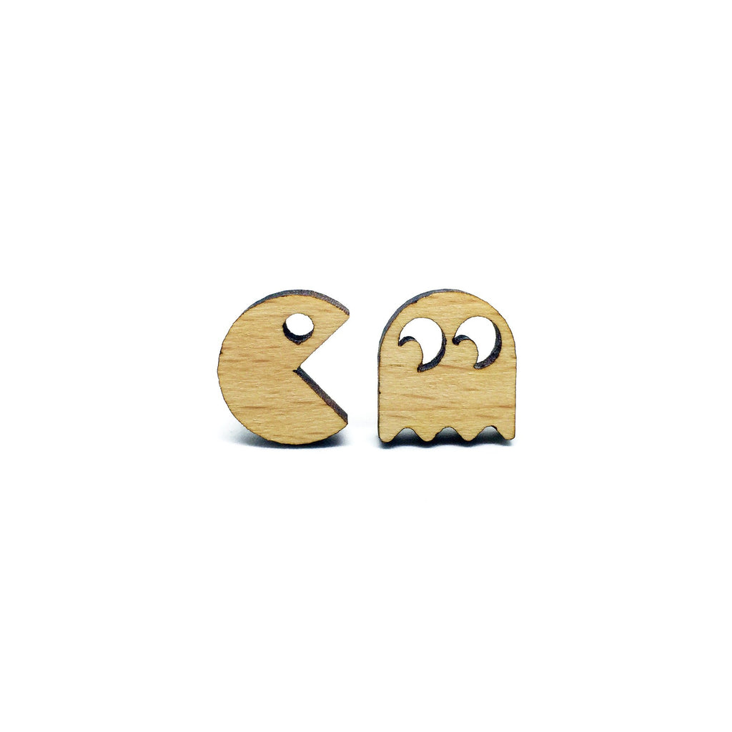 PacMan Laser Cut Wood Earrings