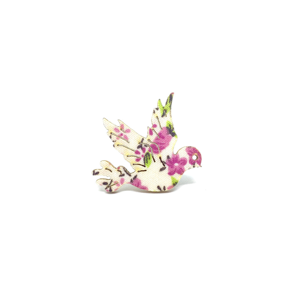 Pink Floral Dove Wooden Brooch Pin