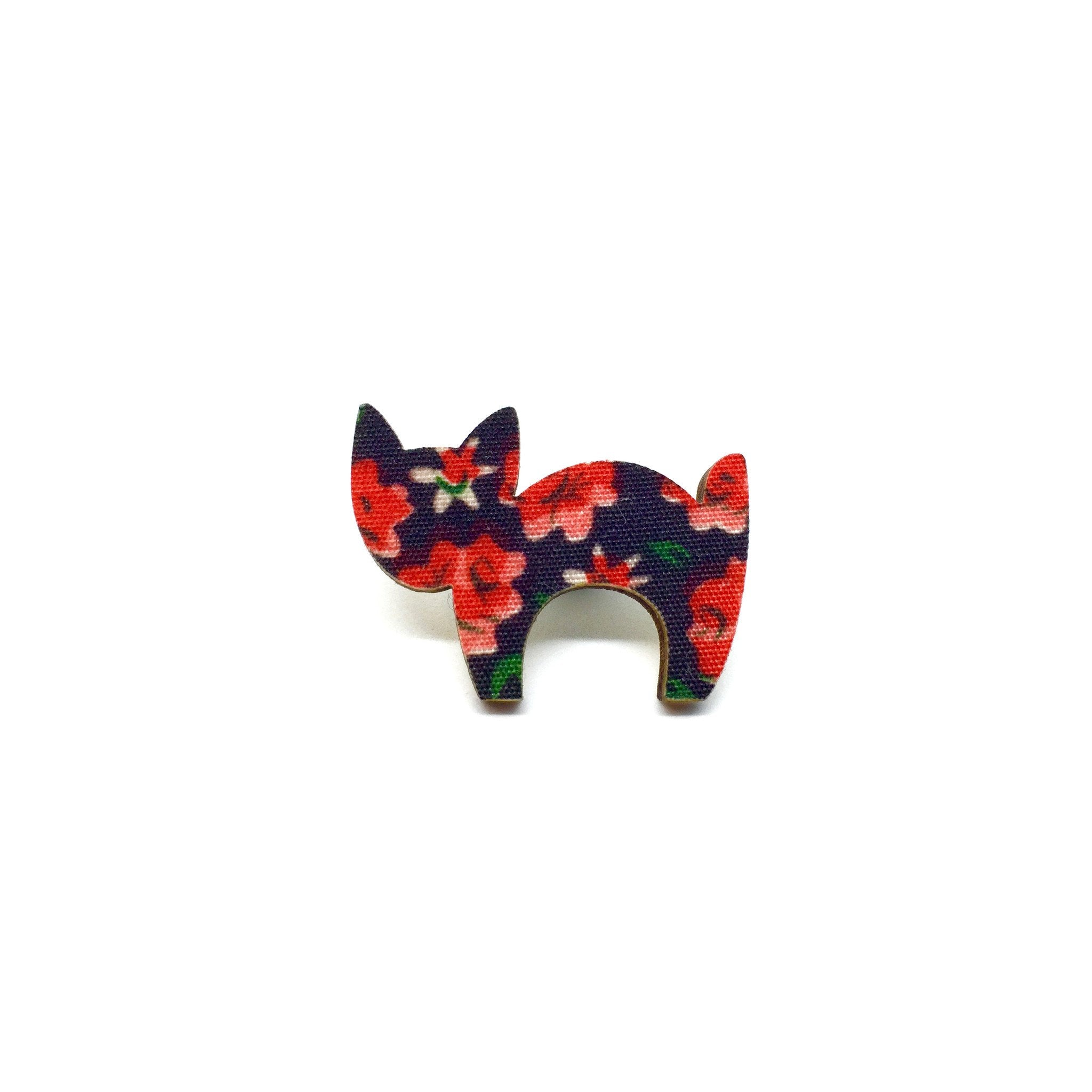 Red Floral Scaredy Cat Wooden Brooch